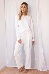 Nasty Gal White You're a Softie Ribbed Top and Wid