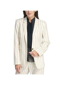 DKNY Womens White Striped Suit Wear To Work Jacket