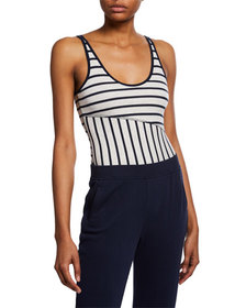 ATM Anthony Thomas Melillo Striped Scoop-Neck Slee