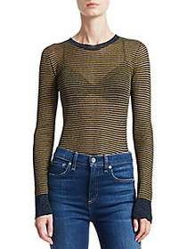 Rag & Bone Raina Lurex Striped Crewneck Sweater