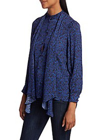 Alice + Olivia Tammy Removable Bow Printed Blouse
