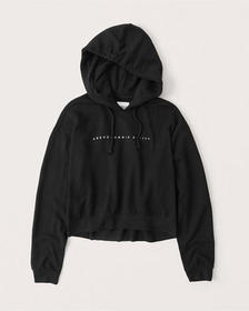 Embroidered Logo High-Low Hoodie, BLACK