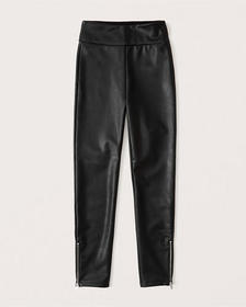Vegan Leather Zip-Ankle Leggings, BLACK