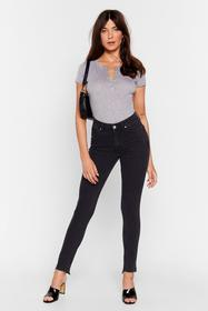 Nasty Gal Washed black Have Your Fray High-Waisted