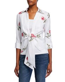 Neiman Marcus Tie-Front Embroidered Linen Jacket