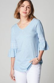 Embroidered-Sleeve Double-V Tee