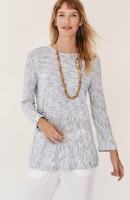 Pure Jill Space-Dyed Stripes A-Line Top