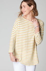 Textured Striped Knit Shirttail Top