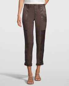 Petite Mid-Rise Utility Straight Crop Jeans