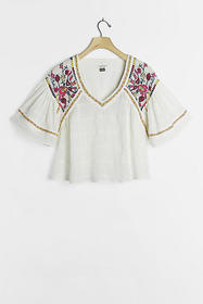 Anthropologie Tawny Embroidered Blouse