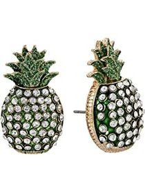 Betsey Johnson Pineapple Mismatch Stud Earrings