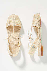 Anthropologie Ball Pages Raffia Slingback Sandals