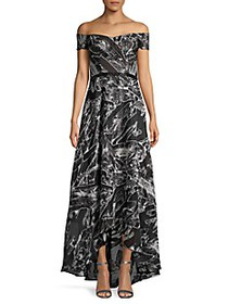 Rene Ruiz Collection Off-The-Shoulder Print Flare