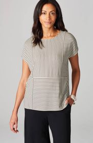 Wearever Mixed-Stripes Buttoned-Back Top
