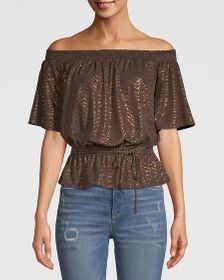JERSEY KNIT OFF-THE-SHOULDER TOP