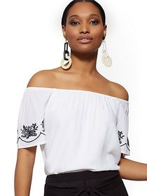 White Embroidered Off-The-Shoulder Top - New York