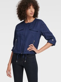 Donna Karan COLLARLESS CHAMBRAY JACKET