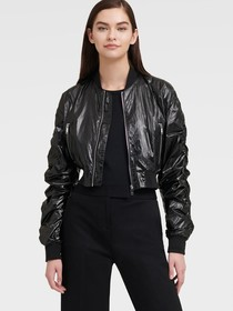 Donna Karan BOMBER WITH RUCHED SLEEVES