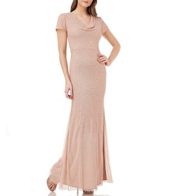JS Collections Drape Neck Beaded Mesh Gown