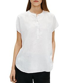 Eileen Fisher - Checked Mandarin Collar Shirt