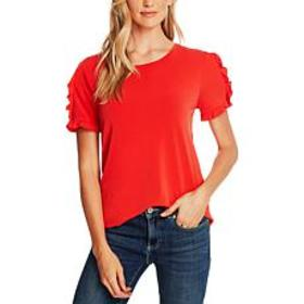 """As Is"" CeCe Ruffle Trim Crepe Top"