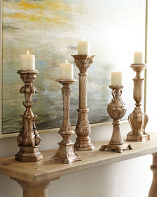Couture Lamps Five Opulent Silver-Washed Candlesti