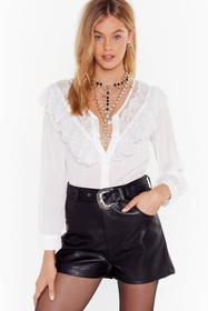 Nasty Gal White Lace Blouse with V-Neckline