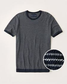 Pima Cotton Textural Knit Striped Tee, NAVY BLUE S