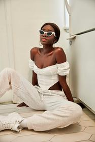 Nasty Gal Ecru Cup and At 'Em Puff Sleeve Corset T