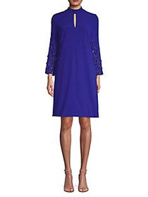 Escada Duavah Beaded-Sleeve Crepe Dress