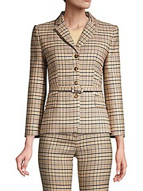 Michael Kors Belted Plaid Stretch Wool Blazer