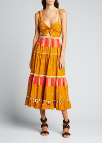 Ulla Johnson Kali Beaded Poplin Midi Dress