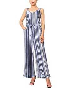 Juniors' Striped Wide-Leg Jumpsuit