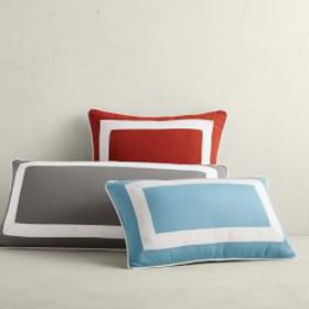 Outdoor Solid Pillow Cover With White Border