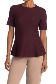 T Tahari Crew Neck Short Sleeve Double Knit Peplum