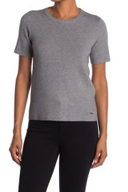T Tahari Crew Neck Short Sleeve Double Knit Top