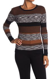 T Tahari Crew Neck Long Sleeve Rib Space Dye Sweat