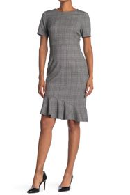 T Tahari Plaid Short Sleeve Ruffle Hem Sheath Dres