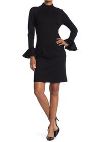 T Tahari Ruffle Cuff Long Sleeve Sheath Dress