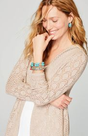Mixed-Textures Hooded Cardi
