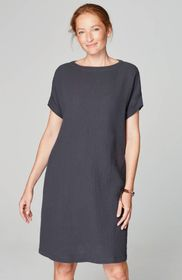 Pure Jill Crinkled-Cotton Boat-Neck Dress