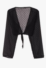 Nasty Gal Black I Sheer Can Plunging Tie Blouse