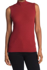T Tahari Scalloped Mock Neck Tank Top