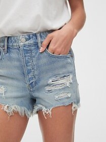 High Rise Destructed Curvy Cheeky Shorts