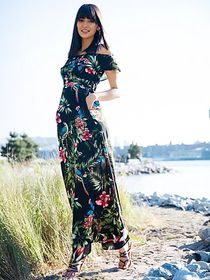 Petite Floral Print Off-Shoulder Maxi Dress - New