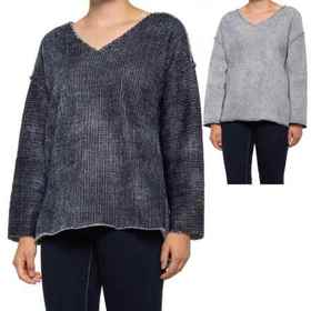 dylan Soft Sierra Raw Seam V-Neck Sweater (For Wom