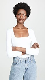 Free People 3/4 Sleeve Square Eyes Thong Bodysuit