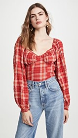 Free People Cherry Bomb Plaid Top