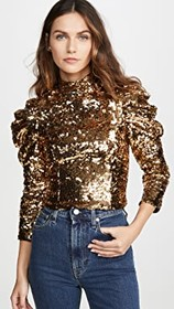 alice + olivia Brenna Sequin Fitted Puff Sleeve To