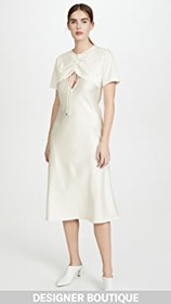 GOEN.J Overlayered Ruched Jersey and Satin Midi Dr
